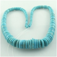 Turquoise Hubei AA graduated rondelle disc gemstone beads (S) Approximate size 3 to 12mm 16 inch