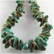 Turquoise Kingman flat green brown nugget gemstone beads (S) Approximate size 5 x 6mm to at least 5.5 x 8mm 16 inch