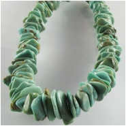 Turquoise Kingman flat nugget gemstone beads (S) Approximate size 4 x 7mm to at least 5.5 x 11mm 16 inch