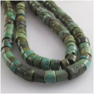 Turquoise Maan Shan olive and brown heishi CLOSEOUT gemstone beads (S) Approximate size 6 to 6.5mm 15.2 inch