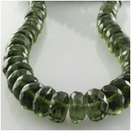 2 Moldavite faceted rondelle gemstone beads (N) Approximate size 6.5 to 6.8mm