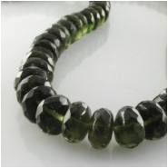 2 Moldavite faceted rondelle gemstone beads (N) Approximate size 7 to 7.4mm