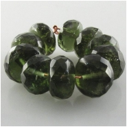 1 Moldavite faceted rondelle gemstone bead (N) Approximate size 8.1 to 8.9mm