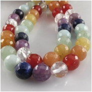 Multi stone faceted round gemstone beads (NDH) Approximate size 8mm 7.7 to 8mm 15.2 inch