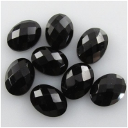 5 Black Onyx rose cut oval loose cut cabochon gemstones (DH) Approximate size 6 x 8mm