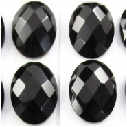 2 Black Onyx rose cut oval cabochon gemstones (DH) Approximate size 13 x 18mm