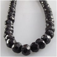 Black Spinel faceted roundel rondelle gemstone beads (N) Approximate size 5mm  5.4 to 5.8mm 13 inch