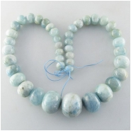 Aquamarine graduated puff rondelle gemstone beads (N) Approximate size 10 to 23mm 17.7 inch