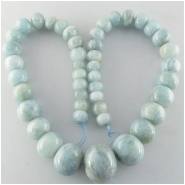 Aquamarine graduated puff rondelle gemstone beads (N) Approximate size 10 to 22mm 18 inch