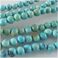 Turquoise Hubei round gemstone beads (S) Approximate size 4 to 4.5mm 15.5 inch