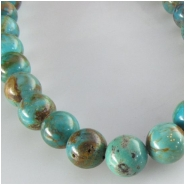 Turquoise Hubei round gemstone beads (S) Approximate size 7.5 to 8mm 16 inch