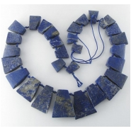 Lapis rustic graduated trapezoid pendant gemstone beads (N) Approximate size range 12 x 15mm to 28 x 33mm 19 inch