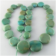 Turquoise Maan Shaan graduated coin gemstone beads (S) Approximate size 11 to at least 18mm 15.5 inch
