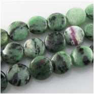 Ruby in Zoisite coin gemstone beads (N) Approximate size 10mm 15.5 inch