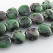 Ruby in Zoisite coin gemstone beads (N) Approximate size 12mm 15.2 inch