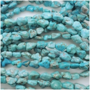 Turquoise Hubei Nugget Gemstone Bead (S) Approximate size 4.56 to 10.15mm x 7.07 to 13.52mm 16 inches