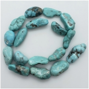 Turquoise Hubei Nugget Gemstone Bead (S) Approximate size 6.21 to 14.98mm x 17.78 to 29.58mm 16.25 inches