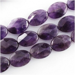Amethyst faceted A oval gemstone beads (N) Approximate size 13 x 18mm  15.2 inch