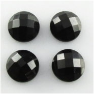 4 Black Onyx A faceted checkerboard round cabochon loose cut gemstones (DH) Approximate size 10mm