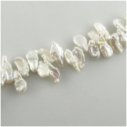 Pearls white keishi beads (D) Approximate size 6 x 11mm to 7 x 15mm 15.5 inch