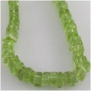 Peridot flat square gemtone beads (N) Approximate size 5 to 5.5mm square 16 inch