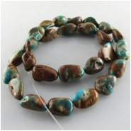 Turquoise Fox medium nugget gemstone beads (S) Approximate size 9 x 11mm to at least 10 x 13mm 15.5 to 16 inch
