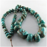 Turquoise Fox graduated barrel rondelle gemstone beads (S) Approximate size barrels 10mm x 8mm to 20 x 15mm rondelles 8mm to 15mm 18 inch