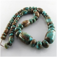 Turquoise Fox graduated barrel rondelle gemstone beads (S) Approximate size barrels 10mm x 8mm to 21 x 15mm rondelles 8mm to 12mm 18 inch