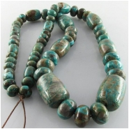 Turquoise Fox graduated barrel rondelle gemstone beads (S) Approximate size barrels 10mm x 8mm diameter to 20 x 15mm rondelles 8mm to 12mm 18 inch.