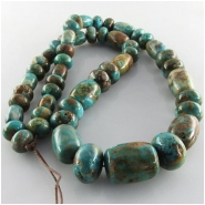 Turquoise Fox graduated barrel rondelle gemstone beads (S) Approximate size barrels 10mm x 8mm diameter to 20 x 15mm rondelles 10mm to 15mm 18 inch.