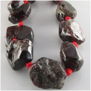 Garnet faceted natural rustic tumbled nugget gemstone beads (N) Approximate size 12 x 12mm to 17 x 19mm 15.5 inch