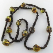 Amber flat nugget and nugget continuous strand gemstone beads (N) Approximate size range flats 4 to 6mm nuggets 8 x 12 to 15 x 20mm 31 inch