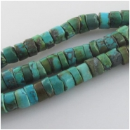 Turquoise Hubei rustic heishi Closeout gemstone beads (S) Approximate size range 6.3 to 6.9mm 15.5 inch