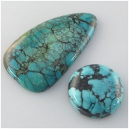 2 Turquoise Hubei cabochon gemstones (S) Approximate size 21mm and 24 x 45mm