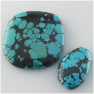 2 Turquoise Hubei cabochon gemstones (S) Approximate size 14 x 22 x 5mm and 30 x 32 x 5mm