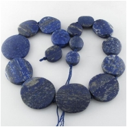 Lapis rustic graduated coin 1mm big hole gemstone beads (N) Approximate size 14mm to at least 30mm 17.5 inch
