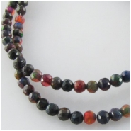 Black Ethopian opal graduated faceted round gemstone beads (E)  Approximate size 3.3 to 3.9mm diameter 16.5 inch