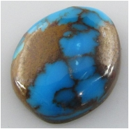 1 Turquoise Persian cabochon gemstone (S) Approximate size 15.9 x 18.7 x 6.7mm deep Backed.