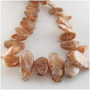 Sunstone graduated flat nugget gemstone beads (N) Approximate size 9 x 10mm to at least 10 x 15mm 14.5 inch side center drilled