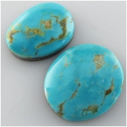 2 Turquoise Tyrone gemstone cabochons (S) Approximate size 13 x 18mm to 17 x 20mm, 5 to 5.8mm deep Backed