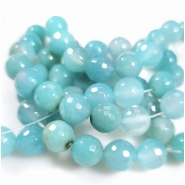 Chalcedony Blue Green Faceted Round Gemstone Beads (D) Approximate size 11.46 to 11.93mm, 4.5 inches