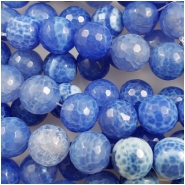 Chalcedony Bright Blue Faceted Round Gemstone Beads (D) Approximate size 11.77 to 12.14mm, 4.5 inches