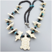Bone Carved Graduated Turtle Pendant Shell Heishi Bead Necklace (MN) Approximate size 14.5 x 24.5mm to 34.5 x 54.30mm CLOSEOUT