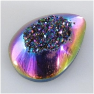1 Titanium infused druzy AAA rainbow drop cabochon 12.8 x 18.2mm CLOSEOUT
