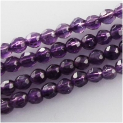 Amethyst faceted A round gemstone beads (N) Approximate size 4mm 15.3 inch