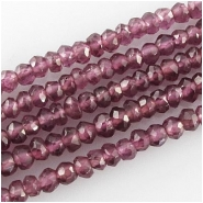 Garnet rhodolite hand cut faceted rondelle gemstone beads (N) Approximate size 3mm 13.2 inch