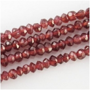 Garnet hand cut faceted rondelle gemstone beads (N) Approximate size 3mm 14 inch