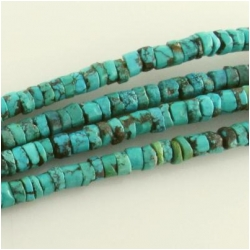 Turquoise Hubei rustic heishi gemstone beads (S) Approximate size range 5 to 6mm 16 inch