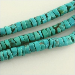 Turquoise Hubei rustic heishi gemstone beads (S) Approximate size range 7 to 7.5mm 15.5 inch