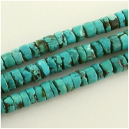 Turquoise Hubei rustic heishi gemstone beads (S) Approximate size range 7.5 to 8.5mm 15.5 inch